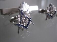 Masonic Master Mason  Cufflinks, and Tie Clip. Silver Plated.