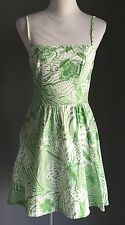Pre-owned Good Condition SUPRE Green & White Floral Print Sundress Size XS 8
