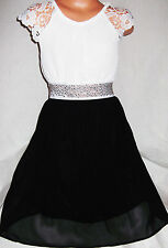 GIRLS WHITE LACE SPARKLE TRIM BLACK CHIFFON CALF LENGTH PARTY DRESS age 3-4