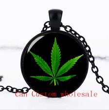 Cannabis Leaf Bob Marley Reggae glass Dome necklace black Chain Pendant Necklace