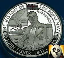 2004 JERSEY £5 Five Pound John Fisher History of Royal Navy Silver Proof Coin