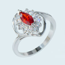 Size 7 Marquise Cut Red Ruby Crystal Engagemeent Ring 10KT White Gold Filled New