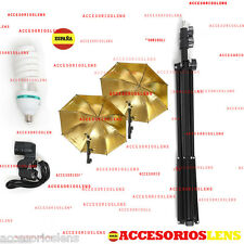 Kit Strobist pie estudio 200 cm,paraguas dorado-gold 84cm,Kit de estudio Pro