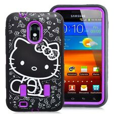 Cute Purple Hello Kitty Hybrid Case for Samsung S2 Epic Touch 4G D710 Cover