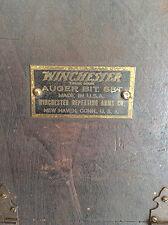 Antique Winchester 13 piece auger bit set with wooden case brace drill