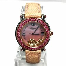 CHOPARD HAPPY SPORT 18K Rose Gold & SS Ladies Watch w/ FACTORY DIAMONDS & RUBIES