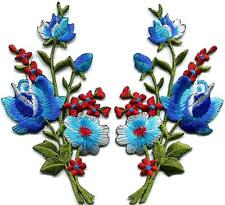 Blue red roses pair flowers bouquet embroidered appliques iron-on patches S-801