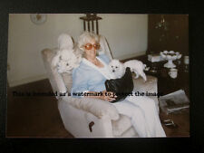Vtg 90's Photo Of Mature Gray Haired Lady Sitting In Chair w/Poodle Pet Dogs E31