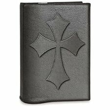 Leather Bible Cover with Cross, Black, Medium