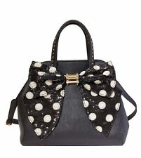 BETSEY JOHNSON OH BOW DOTS Sequin Black White Purse Bag Satchel XBody BJ53605