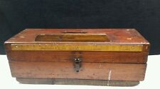 VINTAGE /ANTIQUE  WOOD BOX ICE FISHING KIT.