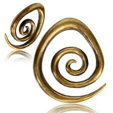 PAIR ORNATE 0g (8mm) LARGE SPIRALS BRASS EAR WEIGHTS PLUGS TUNNELS STRETCH GAUGE