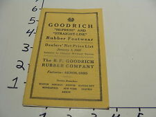 GOODRICH hi-press & straight line 1921 price guide SHOES