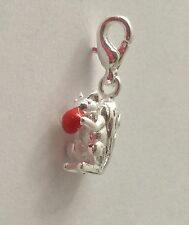 LOVELY SILVER SQUIRREL HOLDING A RED NUT CLIP ON CHARM - 3D- 925 SILVER PLATE