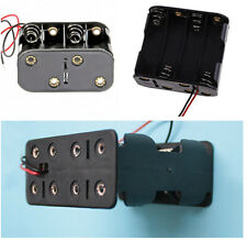 """1X Double Layer Clip Holder Box Case with 6"""" Leads Black fr 8 AA 2A Battery 12V"""