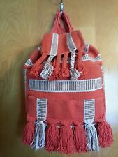 ANTHROPOLOGIE, URBAN OUTFITTERS Ecote' orange & tan woven back pack bucket tote