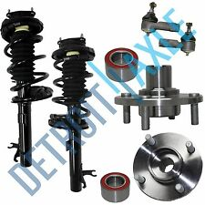 6 pc Set: 2 Front Wheel Hub Bearing Assembly + 2 Ready Strut + 2 Outer Tie Rod
