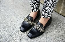ZARA Black Leather Moccasins Shoes With Chain Detail Loafers Mules UK 7 Euro 40