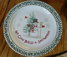 """Stoneware We Can Build A Snowman Dinner plates 10.25"""" Winter Holiday Dinnerware"""