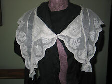 LG ELEGANT Antique Vtg EDWARDIAN NEEDLERUN NET LACE COLLAR-CAPELET Dress Front