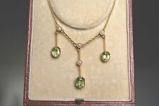 FINE ANTIQUE EDWARDIAN 15 CT GOLD PERIDOT & PEARL PENDANT DROP NECKLACE CASED