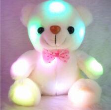 White Plush Geim Velvet Teddy Bear Glow Light Up Rotation Toy Gift