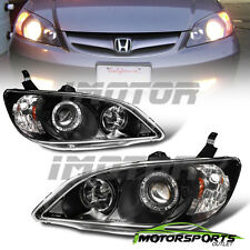 [LED Halo] 2004 2005 Honda Civic 2DR Coupe/4DR Sedan Projector Black Headlights