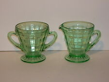 VINTAGE GREEN DEPRESSION ERA CREAM AND SUGAR SET UNKNOWN PATTERN