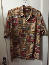 Tori Richard Hawaiian Aloha Shirt Cotton Lawn Button Down SS Medium M Palm Fish