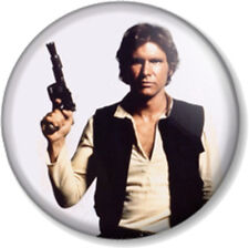 "Han Solo 25mm 1"" Pin Button Badge Star Wars Movie Character Harrison Ford Pirate"
