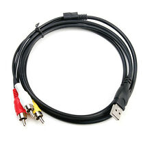 Best 5ft USB A Male to 3 RCA Video Audio AV TV Adapter Cable Cord For Camcorder