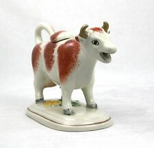 Antique Victorian Staffordshire Cow Creamer Jug with Lid White Russet Gilt Horns