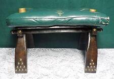 Vintage Antique Camel Saddle Ottoman Stool w/ Leather Pad