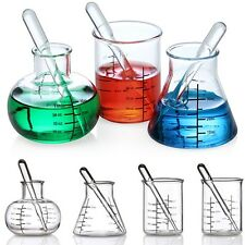 Set of 4 Laboratory Shot Glasses w/ Pipette Stirrers NIB Glass Beakers & Flasks