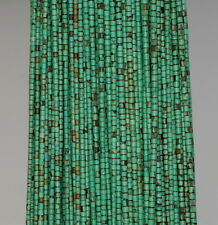 2MM TURQUOISE GEMSTONE GREEN BROWN ROUND TUBE HEISHI LOOSE BEADS 11.5""