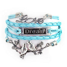 Handmade Multilayer Leather Rope Chain Bracelet With Love Dream Bird Knit Gift