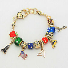 New York City Slider Charm Bracelet-Yellow Cab-Empire St- Big Apple-7 1/2""