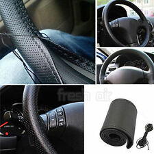 PU Black Leather Car Steering Wheel Cover