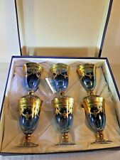 SET Arte Medici Italica Turquoise Gold Encrusted Goblet-SC Line-Made in Italy