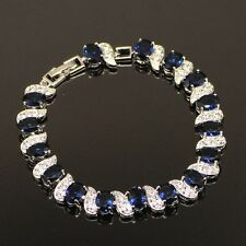 Sterling Silver, Blue Sapphire & White Topaz 11ct Infinite Tennis Bracelet, 7-8