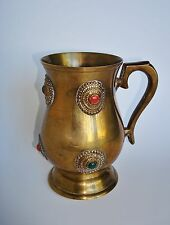 Antique Indian Chinese Tibet Turquoise Coral Brass Cup Mug Stein Tankard