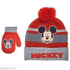MICKEY MOUSE Mickey Knit Hat w/ Mittens Set (Infants) NWT