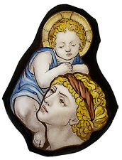 Saint Christopher stained glass fragment, Pre-Raphaelite stained glass, Christ