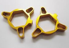 CNC MACHINED FRONT FORK PRELOAD ADJUSTERS GOLD FOR 22MM TOP NUT DUCATI HONDA