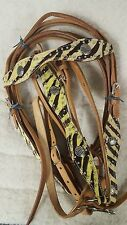 Zebra Lime Green/Black Light Oil Leather Headstall, Reins and Breast Collar Set