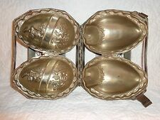 Antique Hinged 2 Large Easter Eggs Chocolate Metal Mold, Vintage