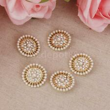 5x Rhinestone Crystal Pearls Shank Buttons Sewing Gold Wedding Craft Decor
