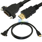 Premium 1m 3Ft HDMI A male to female panel mount extension Gold plated Cable in