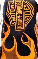 Harley Davidson Licensed Motorcycle Fire Flames Throw Blanket 49x58""