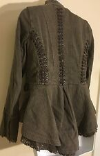Free People victorian lace-up military jacket olive green size extra small